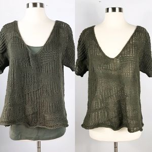 EUC✨EILEEN FISHER Open Knit Top Olive Green Small